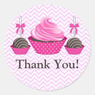 Obrigado da padaria dos pop do cupcake e do bolo adesivo