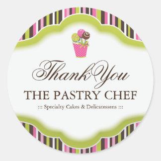 Obrigado da padaria você etiquetas adesivo em formato redondo