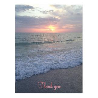 Obrigado da praia do por do sol você cartão