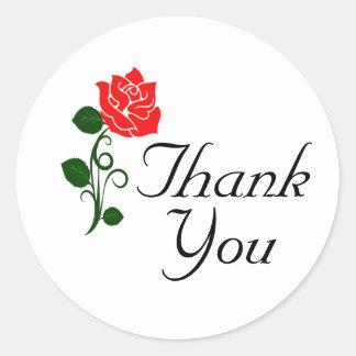 Obrigado da rosa vermelha você etiqueta