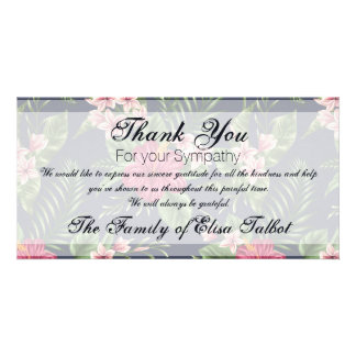 Obrigado da simpatia do hibiscus você cartão com cartão com foto