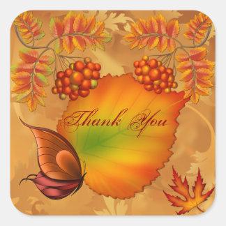 Obrigado das bagas do outono você adesivo quadrado