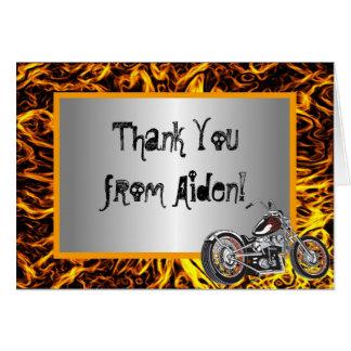 Obrigado das chamas da motocicleta você cartão de