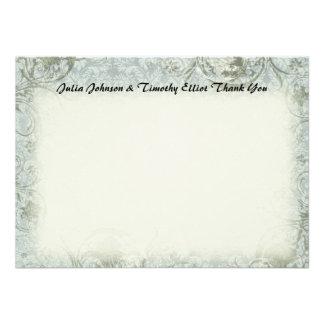 Obrigado das cinzas azuis do poema do amor do vint convite personalizado