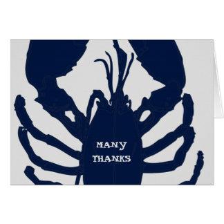 Obrigado das cinzas de azuis marinhos você cartões
