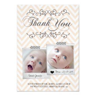 Obrigado das fotos do bebê de Chevron você cartões Convite 12.7 X 17.78cm