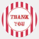 Obrigado das listras do circo do vintage você etiq adesivo em formato redondo