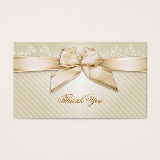 Obrigado das listras do ouro da fita do marfim cartão de visitas