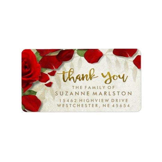 Obrigado das pétalas de rosa vermelha você etiqueta de endereço