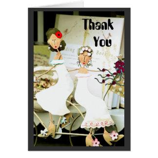 Obrigado de duas noivas você cartão de nota