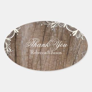 obrigado de madeira do casamento do país do laço adesivos em formato oval