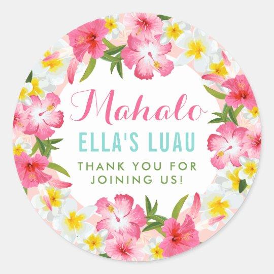 Obrigado de Mahalo você flores tropicais dos leus Adesivo Redondo