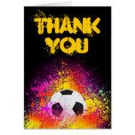 Obrigado de néon colorido do tema do futebol você