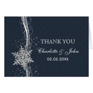 Obrigado de prata azul do casamento no inverno dos cartao