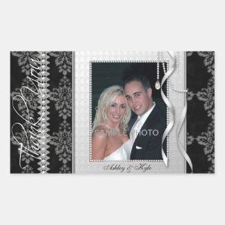 Obrigado de prata da foto do casamento do quadro adesivo retangular