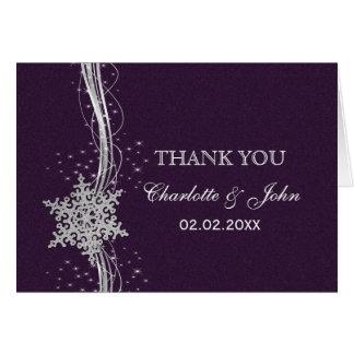 obrigado de prata roxo do casamento no inverno dos cartões