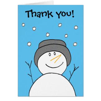 Obrigado de sorriso do cartão do boneco de neve
