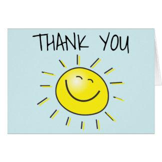Obrigado de sorriso feliz de Sun você cartão de
