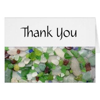Obrigado de vidro da praia você cartões