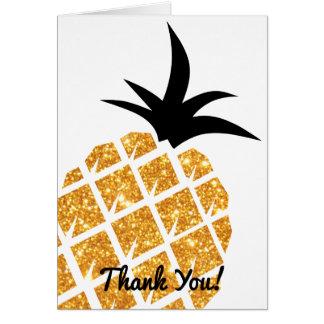 Obrigado do abacaxi do brilho do ouro do falso cartão de nota
