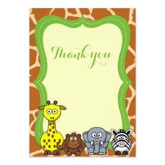 Obrigado do animal selvagem de safari de selva convite 12.7 x 17.78cm