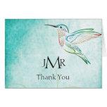 Obrigado do aniversário da aguarela do colibri do  cartoes