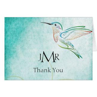 Obrigado do aniversário da aguarela do colibri do cartão