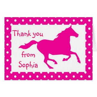 Obrigado do aniversário do cavalo do rosa quente cartão de nota