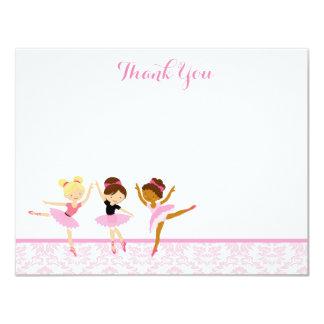 Obrigado do aniversário do dançarino da bailarina convite 10.79 x 13.97cm