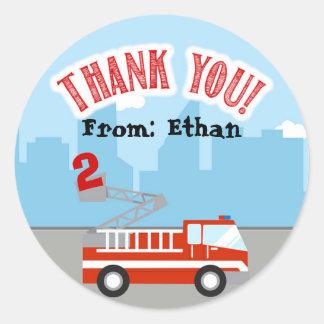 Obrigado do aniversário do Firetruck você Tag da Adesivo Redondo
