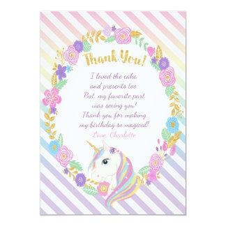 Obrigado do arco-íris do unicórnio você cartões convite 12.7 x 17.78cm