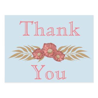 Obrigado do azul e do rosa você cartão postal