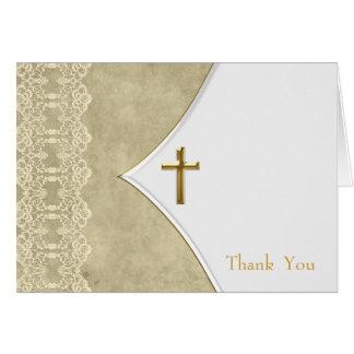 Obrigado do batismo do baptismo da cruz do ouro do cartão de nota
