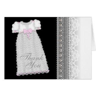 Obrigado do batismo do rosa do bebé do vestido das cartão de nota