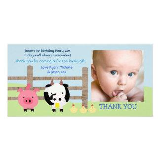 Obrigado do bebê do Barnyard dos animais de fazend Cartão Com Foto