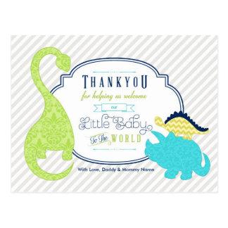 Obrigado do bebê do dinossauro você cartão