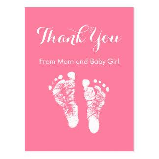 Obrigado do bebé você pegadas recém-nascidas cor-d cartao postal