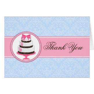 Obrigado do bolo do Couture você cartões