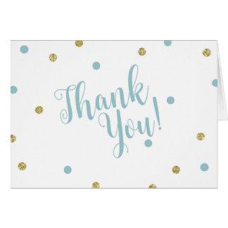 Obrigado do brilho do azul e do ouro você cartões