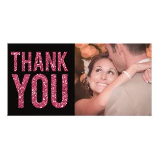 Obrigado do brilho do preto & do rosa você cartões cartão com foto
