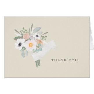 Obrigado do buquê da aguarela você cartão de nota