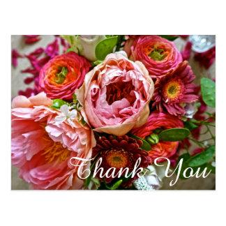 Obrigado do buquê floral você, cartão
