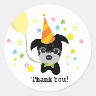 obrigado do cão pequeno do partido você etiquetas