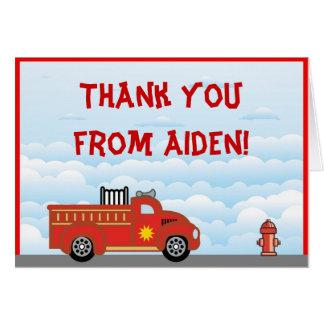 Obrigado do carro de bombeiros você cartão de nota