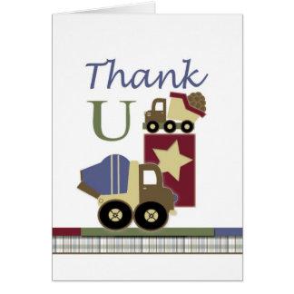 Obrigado do cartão do bebê da construção você