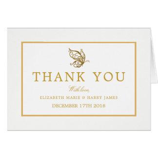 Obrigado do casamento da borboleta do brilho do cartão de nota