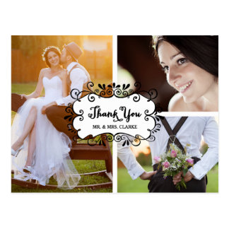 Obrigado do casamento da colagem de três fotos cartão postal