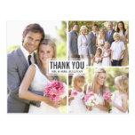 Obrigado do casamento da colagem de três fotos voc cartoes postais