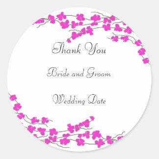 Obrigado do casamento da flor do rosa quente você adesivo