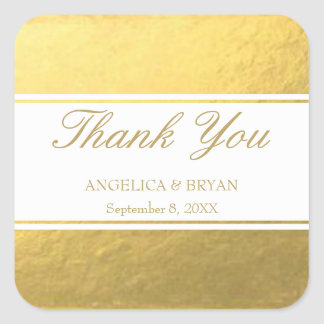 Obrigado do casamento da folha de ouro você adesivo quadrado